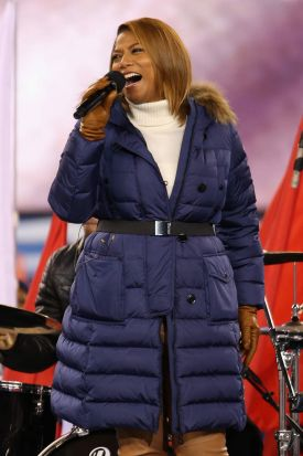 Queen Latifah performs during the Super Bowl XLVIII pregame show in New Jersey.