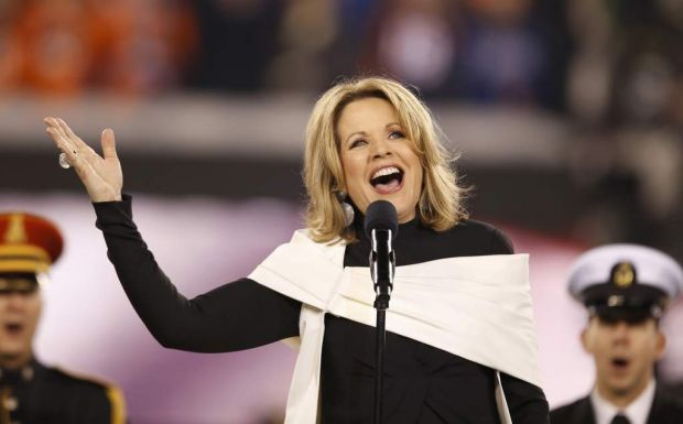 Soprano Renee Fleming sings the US National Anthem prior to the NFL Super Bowl XLVIII football game.