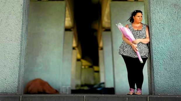 Jaylee Watton-Perry, daughter of murdered homeless man Wayne 'Mousey' Perry, at the railway underpass in Enterprize Park.