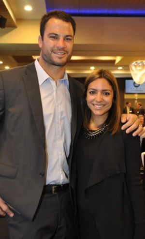 Shillington with wife Sonia, who is due to give birth this week to their first child.
