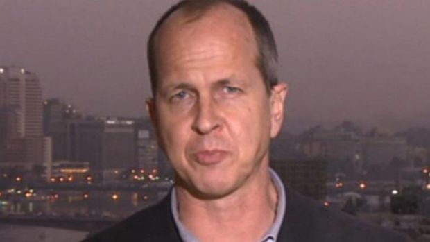 A screen grab from a BBC report by Peter Greste, an Al-Jazeera journalist who was arrested for aiding the Muslim ...