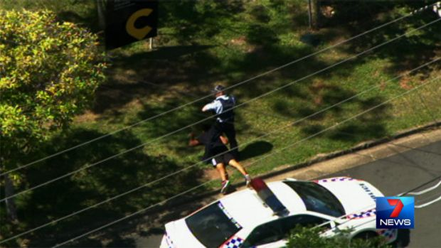 A man is arrested after a police chase on the Gold Coast. Photo: Seven News.