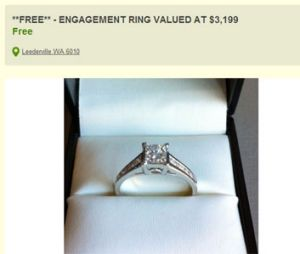 The 'free' engagement ring that's causing a stir.