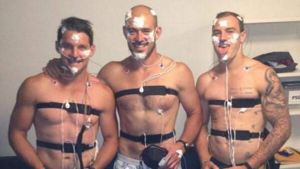 Canberra Raiders players Jarrod Croker, Terry Campese and Jack Ahearn taking part in an AIS Sleep study.