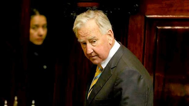 Ken Smith stands down as Speaker on the first day of State Parliament in 2014.