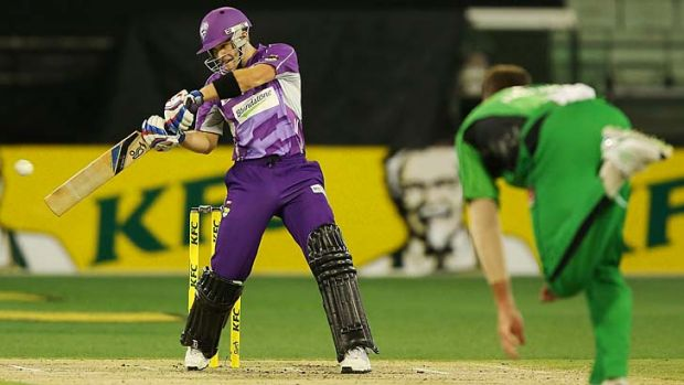 Tim Paine smashes a boundary off John Hastings at the MCG on Tuesday.