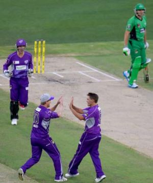 Hobart Hurricanes skipper George Bailey high-fives Cameron Boyce after he trapped Stars opener Luke Wright (right) lbw ...