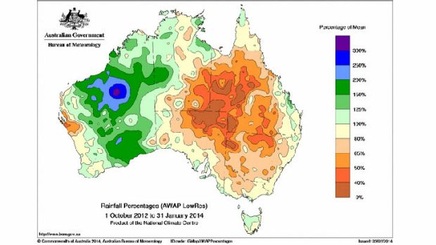 Big dry spreads over eastern Australia during the past 16 months