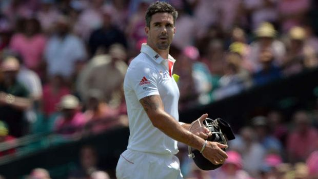 Kevin Pietersen trudges off the field after being dismissed in the fifth Ashes Test in Sydney.