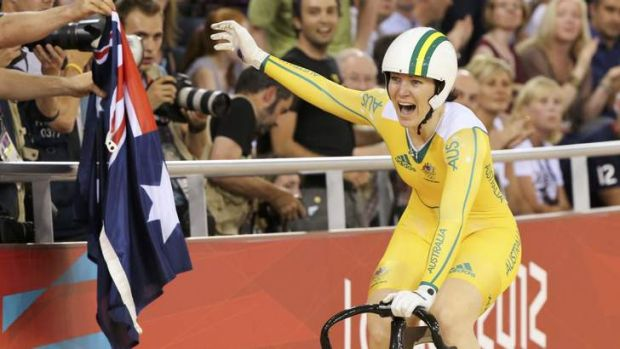 Meares after winning the sprint finals at the London Olympic Games.
