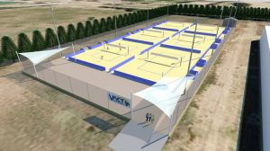 An artist's impression of the proposed beach volleyball facility.