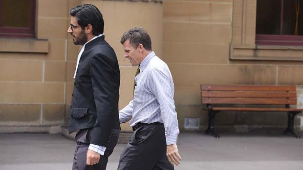 Accused of murder: Paul Mulvihill (right) outside court.