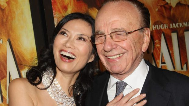 "Happier times ..  Wendi Deng and Rupert Murdoch attend the premiere of ""Australia"" in 2008 in New York City."