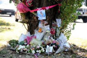 A memorial to the four people who died was put up near the crash site.