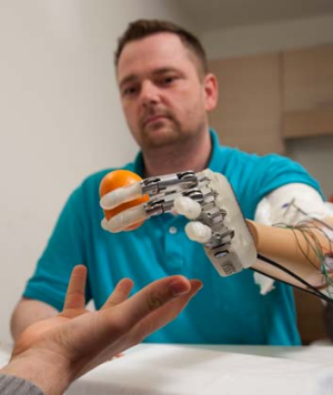 Dennis Aabo Sorensen tries out the sensory feedback enabled prosthetic in Rome.