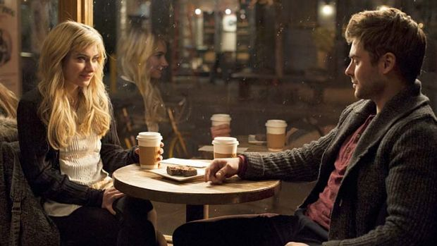 Coffee, tea or me? Imogen Poots and Zac Efron check each other out in <i>Are We Officially Dating</i>.