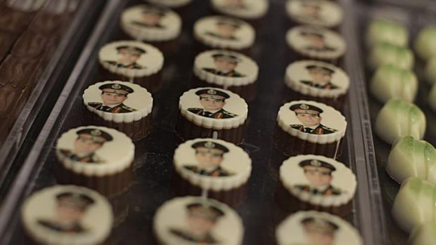 Chocolates decorated with pictures of Egyptian Defence Minister Field Marshal Abdel Fattah al-Sisi