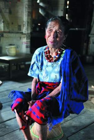 Living history … A 96-year-old Ao woman.