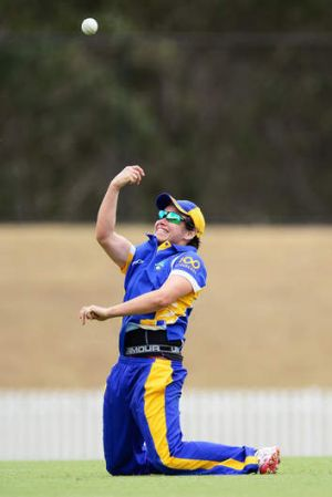 ACT Meteors skipper Kris Britt celebrates a catch against in Wednesday's T20 semi-final against NSW.