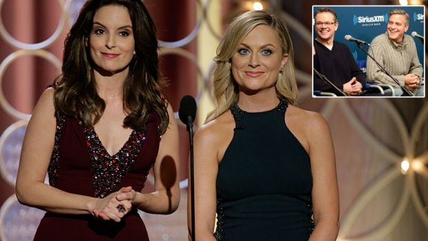 Pranked ... Tina Fey and Amy Poehler had a few choice words to say about George Clooney and Matt Damon (inset) at the ...