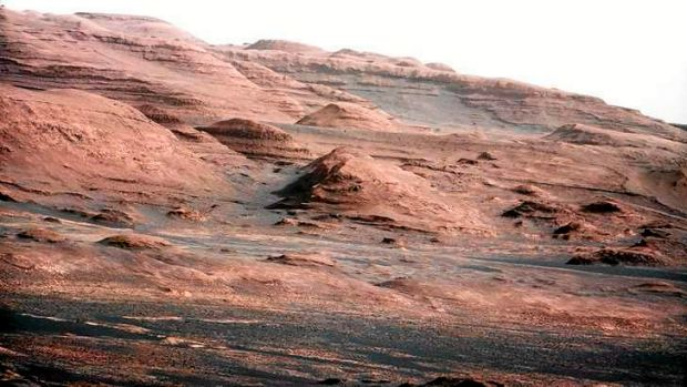 The base of Mars' Mount Sharp -  the rover's destination  -  is pictured in this August 27, 2012 NASA photo taken by the ...
