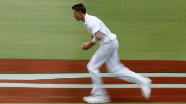 Dale Steyn runs in to bowl during the Second Test against Australia at Adelaide in 2012.