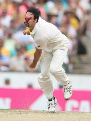 Mitchell Johnson in action during the Sydney Test against England in January 2014.