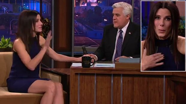 'Emotional support' ... Sandra Bullock gets tearful over Jay Leno's retirement from <i>The Tonight Show</i>.