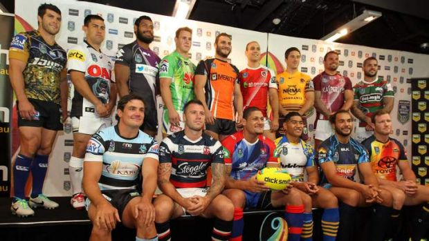 Dressed for success: NRL players in their club playing strips for the Auckland Nines.