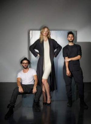 Designers Mario-Luca Carlucci (left) and Peter Strateas with model Grace.