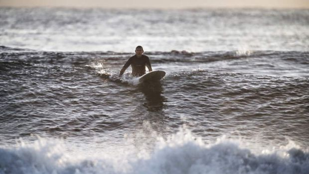 Just another anonymous surfer: Prime Minister Tony Abbott riding the waves.