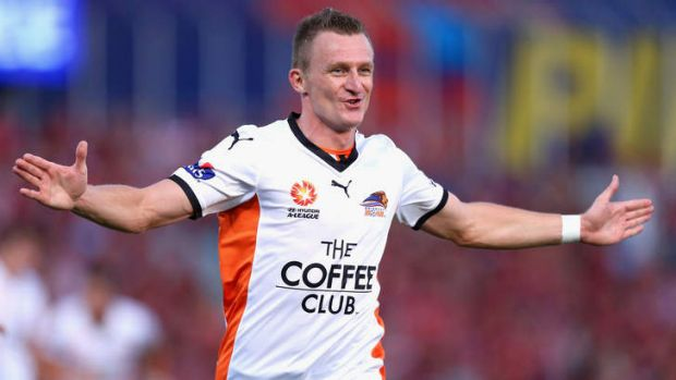 Besart Berisha of the Roar celebrates his goal during the round 18 A-League match between the Western Sydney Wanderers ...