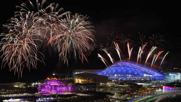 Fireworks above the Olympic opening ceremony: The hijacker was attempting to divert the plane towards Sochi, reports say.