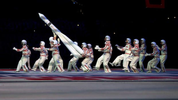 Rocket men: Cosmonauts do their thing.