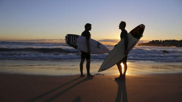 Dawn patrol: Riley Herman (right) and filmmaker Thomas Castets prepare for an early morning surf in a scene from Out in ...