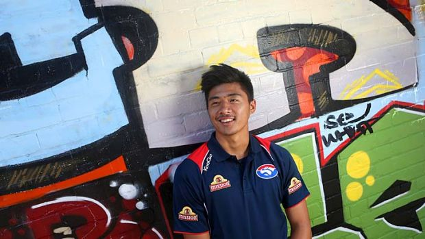 Big goals: Lin Jong is hoping to recapture his 2012 form this season for the Western Bulldogs. The youngster broke his ...