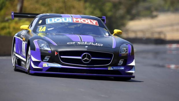 Bouncing back: Dumped V8s driver Maro Engel on his way towards a record pole-position time in the Bathurst 12 Hour on ...