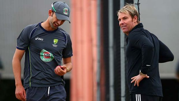 Nathan Lyon with Shane Warne during the Ashes tour of England last year.