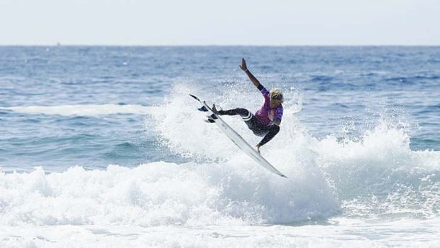 Wildcard: Kai Hing competes in the junior event at the Hurley Australian Open at Manly on Saturday.
