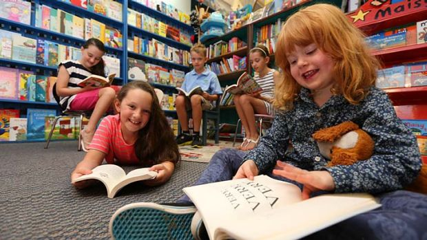 Eager readers: (Clockwise from front left) Remy Savell-McKean, Tara Savell-McKean, Thomas Jones, Emma Jones and Mary ...