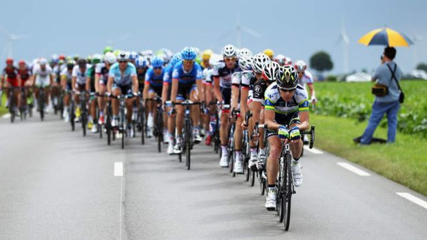Stuart O'Grady leads the peloton during stage five of the 2012 Tour de France.