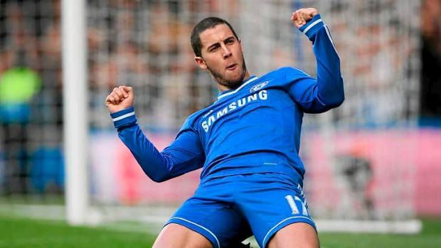 Hat-trick: Chelsea's Eden Hazard celebrates after scoring the second goal against Newcastle United en route to a ...