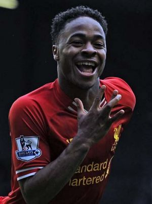 Five in a row: Liverpool's Raheem Sterling celebrates.