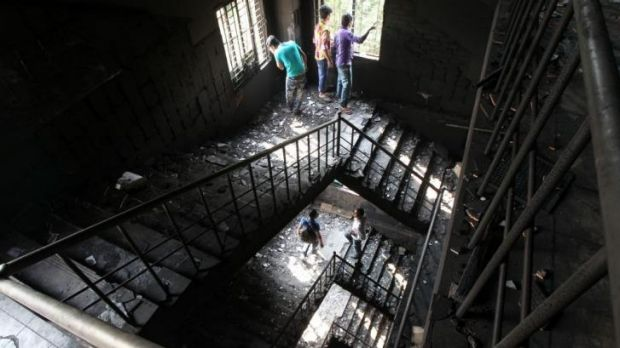 No way out: The burnt out stairs at the Tazreen garment factory.