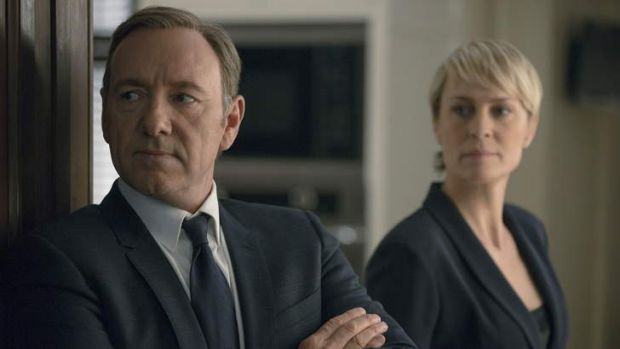 Kevin Spacey and Robin Wright in Netflix's <i>House of Cards</i>.