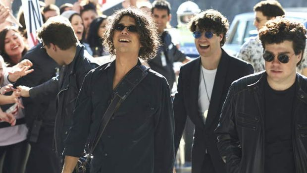 The accountant-turned-rockstar (far right) Andrew Farriss, played by Andy Ryan, saved <i>INXS: Never Tear Us Apart</i>.
