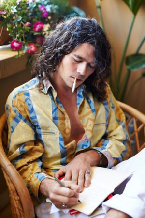 Luke Arnold plays Michael Hutchence in a scene from 'INXS: Never Tear Us Apart', airing Feb 2014 on Channel Seven.