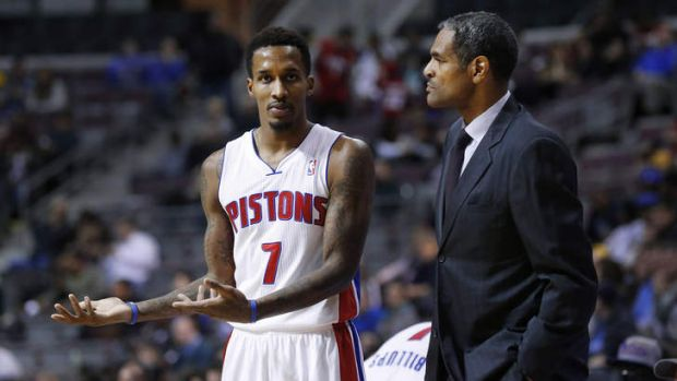 Detroit Pistons coach Maurice Cheeks talks tactics on the sidelines with guard Brandon Jennings. Detroit fired Cheeks on ...