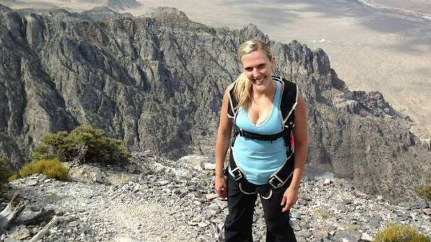 Tragic accident ... newlywed Amber Bellows died BASE jumping in Utah. Picture courtesy of Facebook.