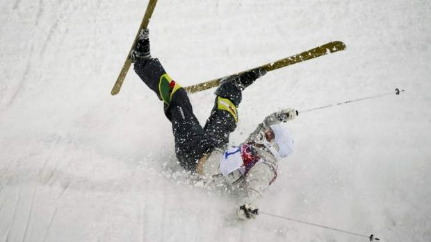 'My body wasn't there' ... Australia's Dale Begg-Smith crashes during the men's freestyle skiing moguls qualification ...